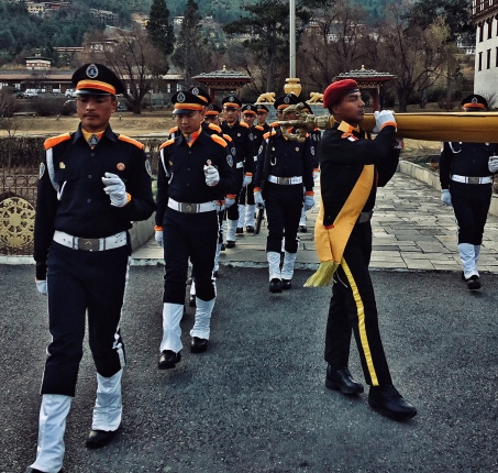 Thimphu - Flag Ceremony at Tashi Chhoe Dzong